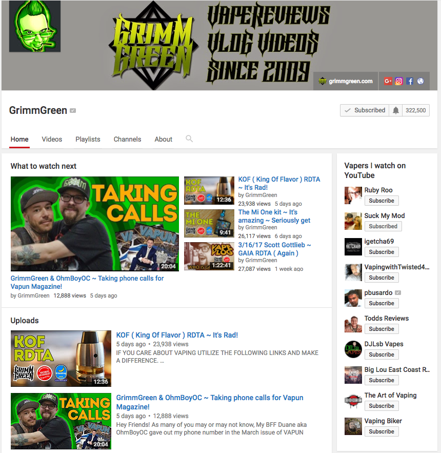 Grimm Green On Youtube - Best Vape Reviews