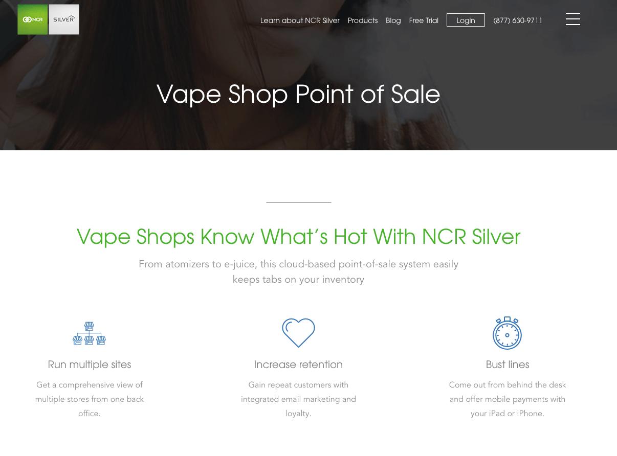 NCR Sliver POS Systems For Vape Shops